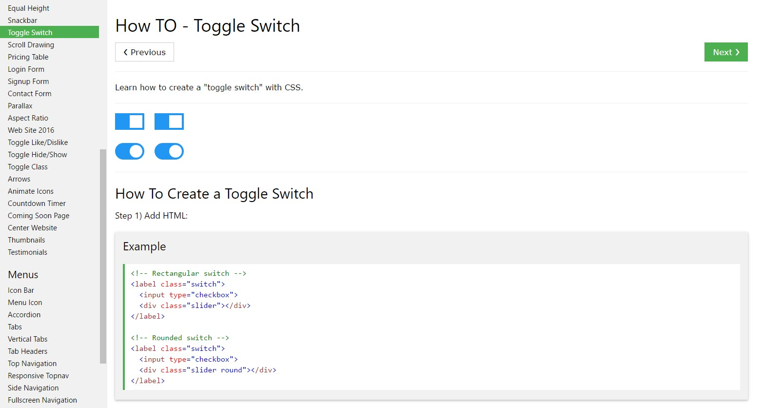 Ways to  make Toggle Switch