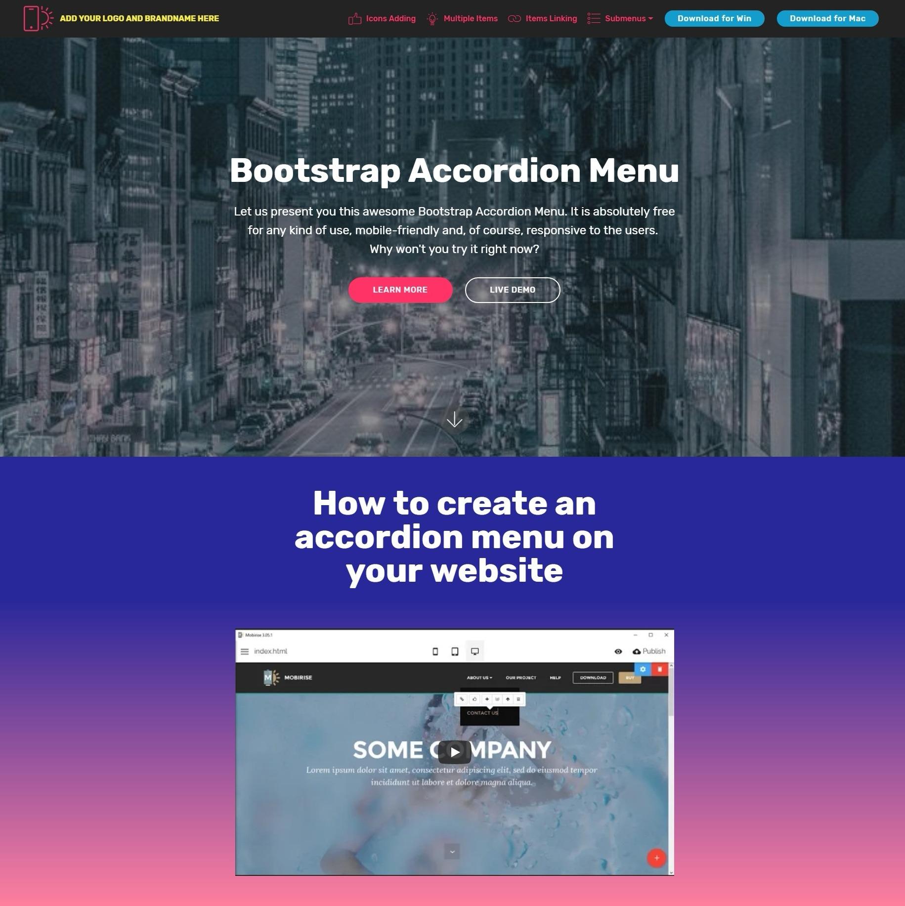 Bootstrap Accordion Menu