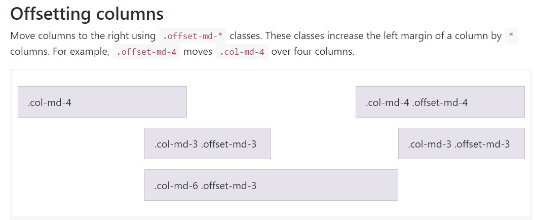Bootstrap offset  main  information