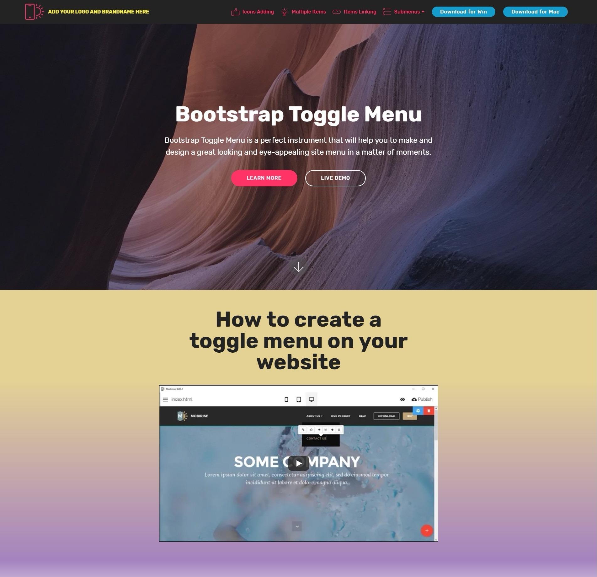 Bootstrap Toggle Menu